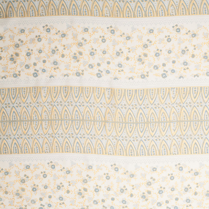 25 blue gold double parallel floral border printed silk panel 306834 11