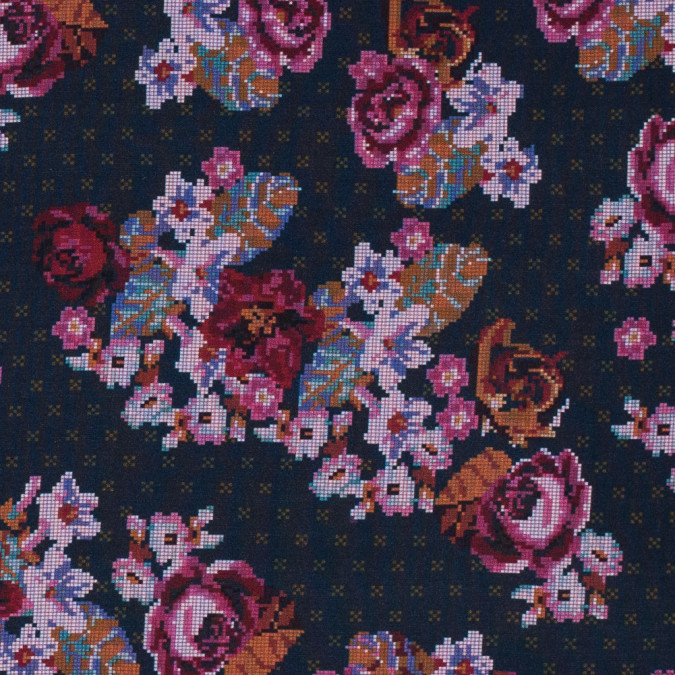 american beauty nightshadow blue and tinsel digital flowers printed on a viscose woven 313999 11