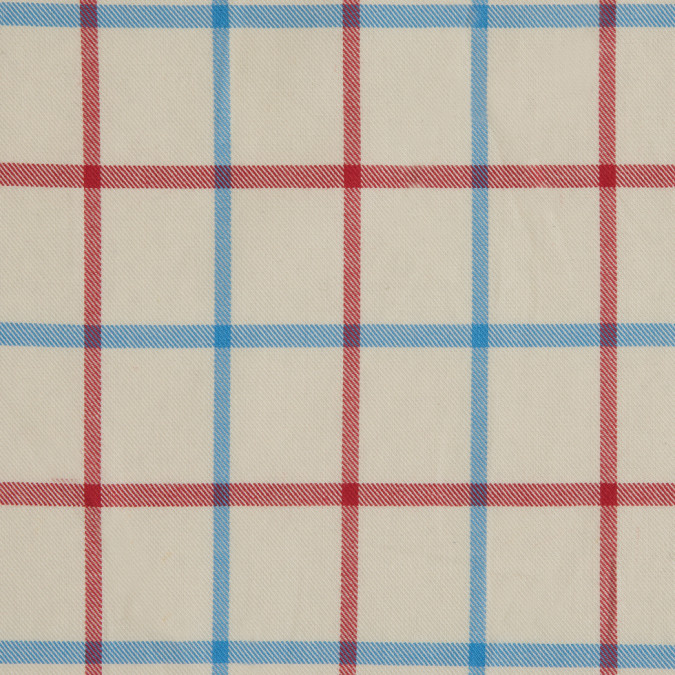 angora blue red tattersall check cotton shirting 309727 11