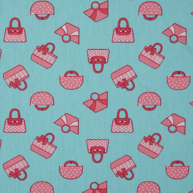 aqua coral printed purses on cotton poplin 310737 11