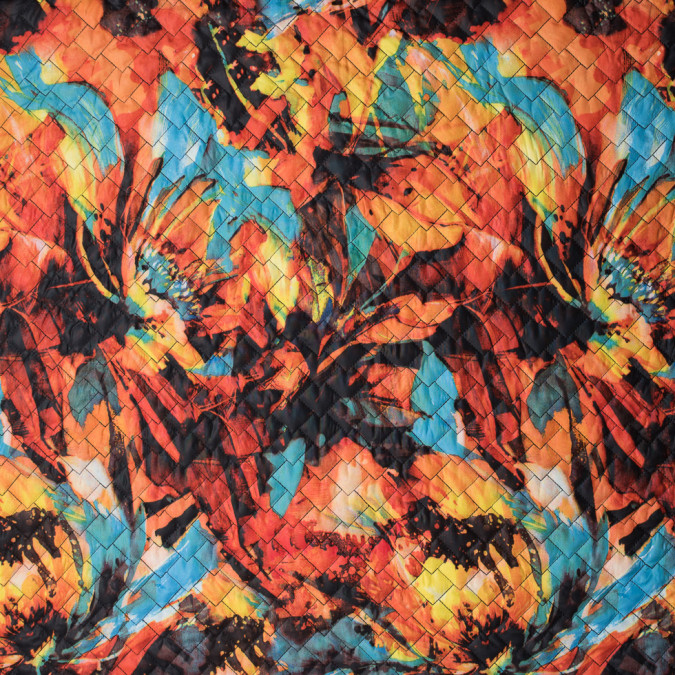 aqua orange digitally printed abstract quilted polyester 111310 11