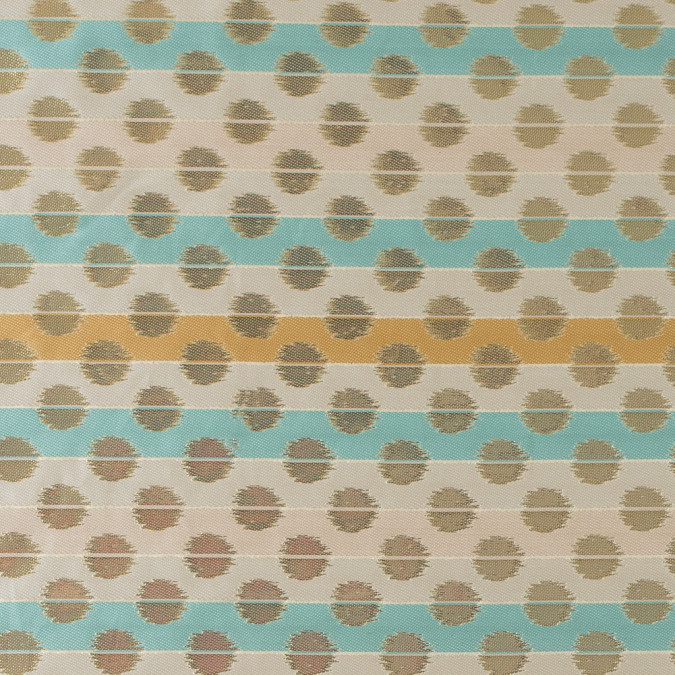 aqua sky ochre and metallic gold polka dotted and striped brocade 315791 11