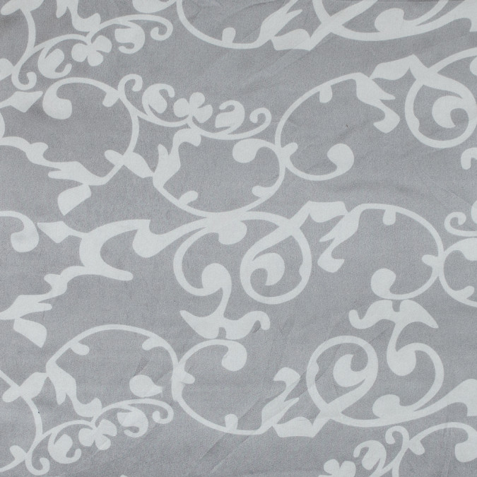 ash gray and white foliage printed silk charmeuse 315700 11