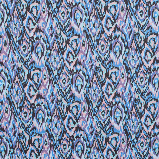 azure blue and peach nectar ikat printed stretch cotton twill 314632 11