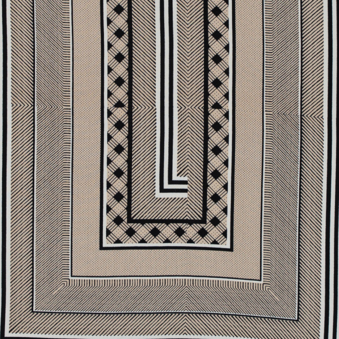 beige black and white geometric striped polyester print 313465 11