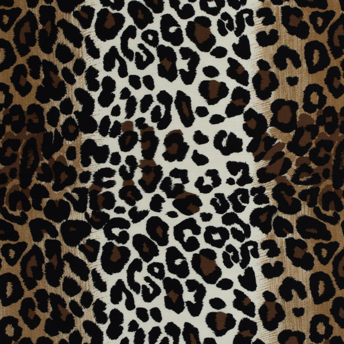 beige brown and black jaguar printed silk wool 34mm 313960 11
