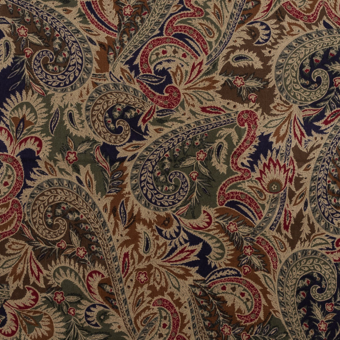 beige and green paisley printed stretch cotton corduroy hc21625 11