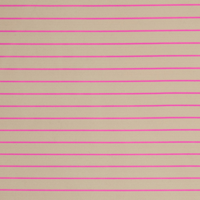 beige and neon pink striped stretch polyester jersey 313615 11