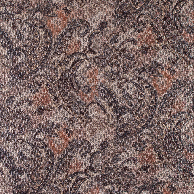 beige black paisley laminated polyester tweed 310977 11