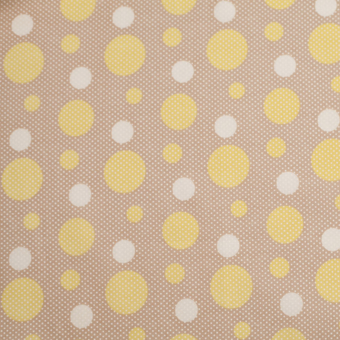 beige celery green cotton voile circle print 306398 11