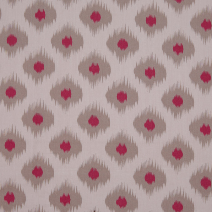 beige pink ikat like printed cotton sateen 307098 11