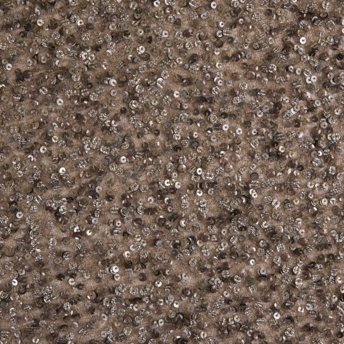 beige silver sequin beaded polyester mesh 105394 11