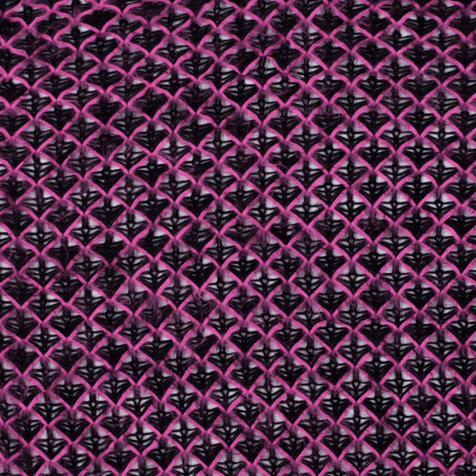 black and hot pink lacey diamonds acrylic knit 303873 11
