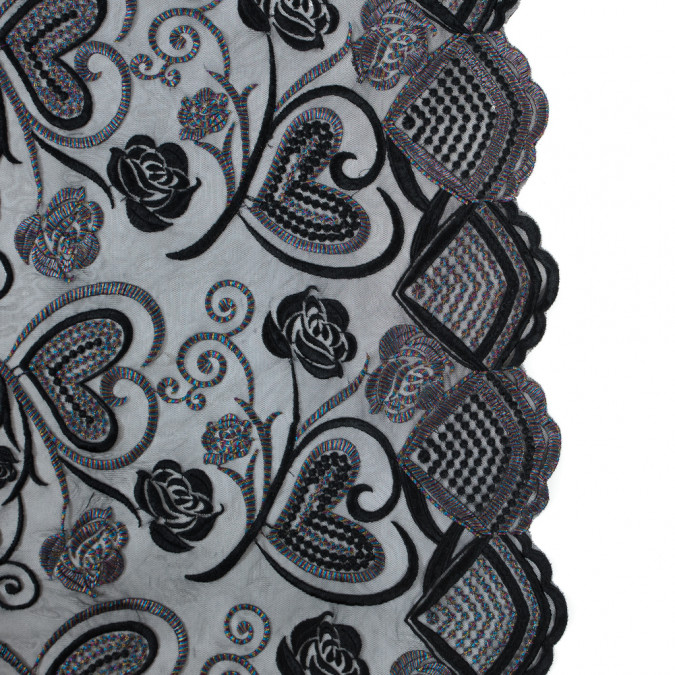 black and metallic rainbow floral and heart embroidered mesh 317496 11