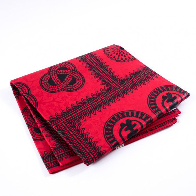 black and red waxed cotton african print with additional inlaid print 313294 11