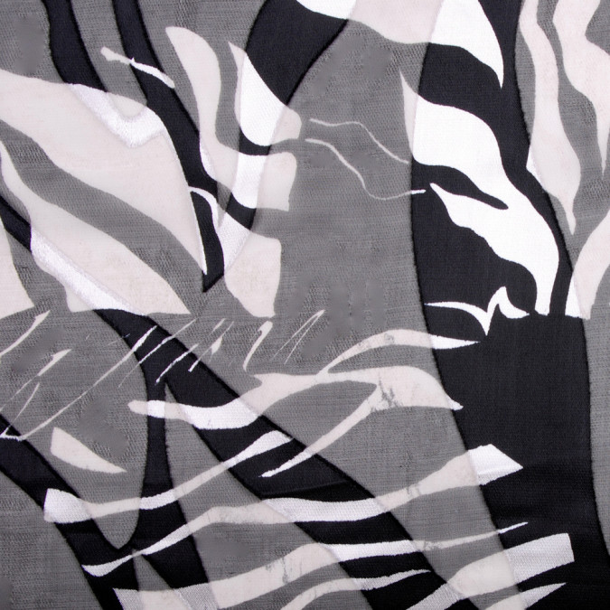 black and silver animal printed satin faced silk rayon chiffon 300415 11