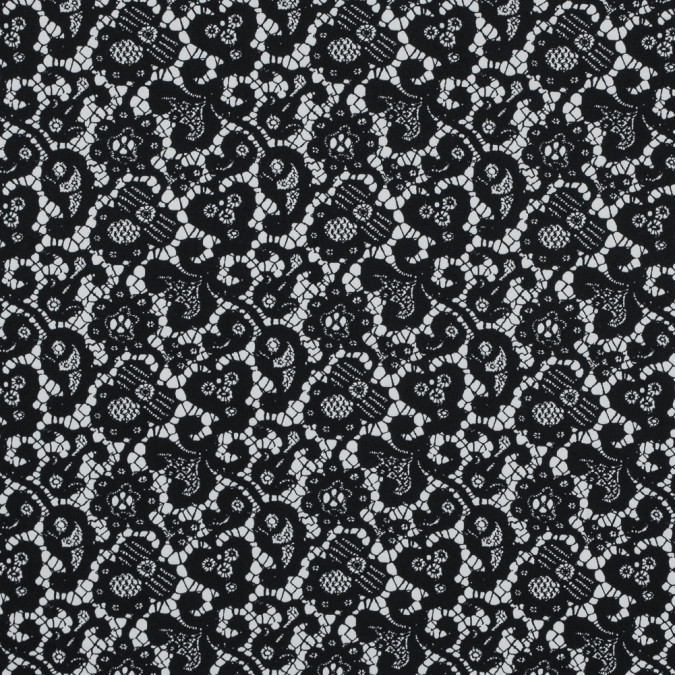black and white floral and paisley lace printed cotton shirting 314147 11