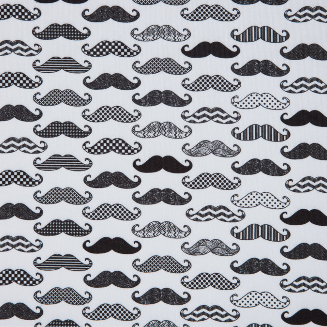 black and white mustaches digitally printed on stretch neoprene scuba knit 310361 11