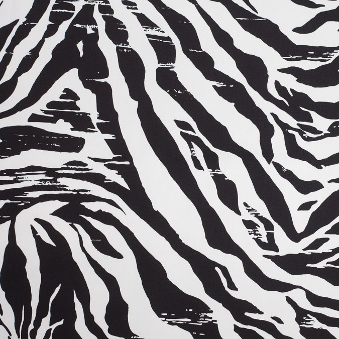 black and white zebra stretch cotton 307880 11