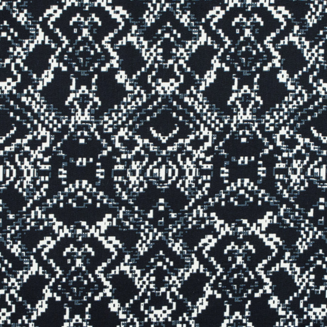 black and winter white abstract printed stretch cotton sateen 117330 11
