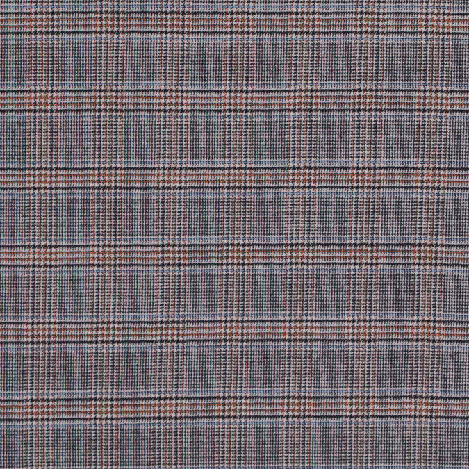 black aqua orange glen plaid wool suiting 312098 11