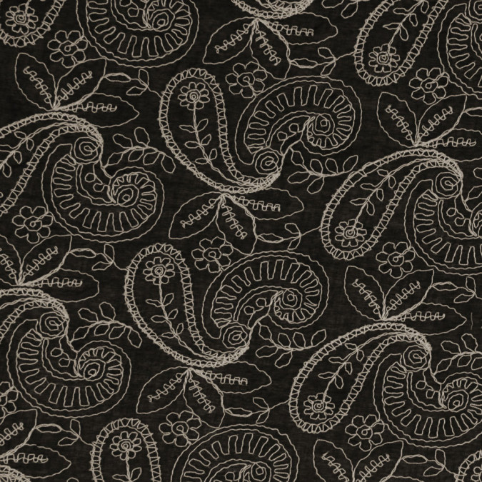 black beige paisley embroidered cotton voile fc25310 11