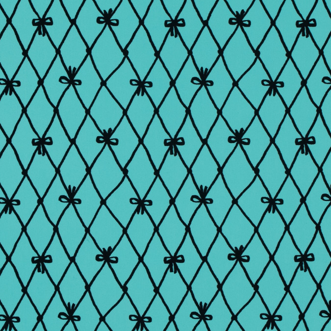 black bows and netting printed on a turquoise nylon spandex 313486 11