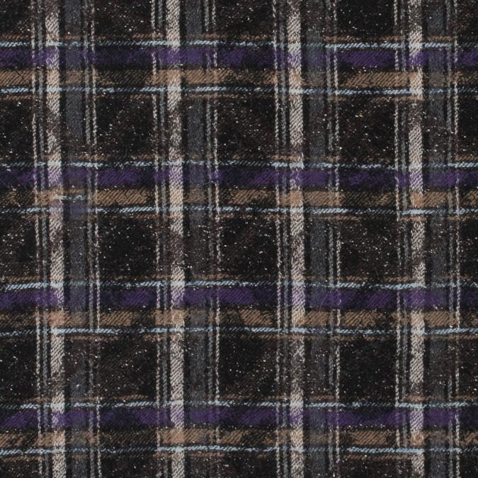 black brown purple speckled plaid wool twill 311572 11