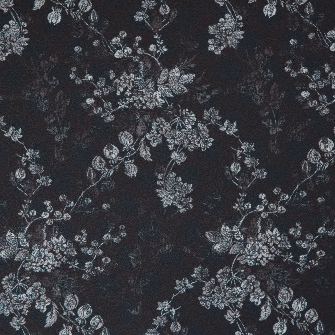 black dark teal floral and polka dotted stretch polyester crepe 309970 11