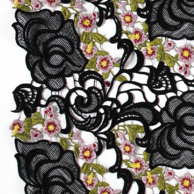 black floral embroidered guipure lace 115957 11