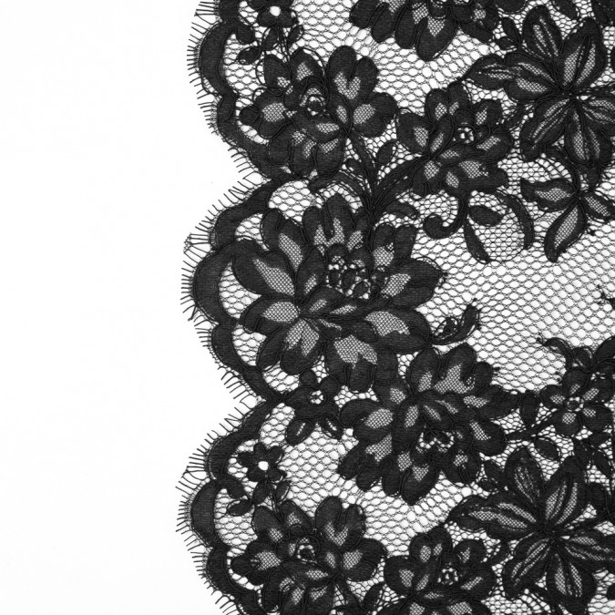 black floral fancy corded lace with scalloped eyelash edges 117249 11