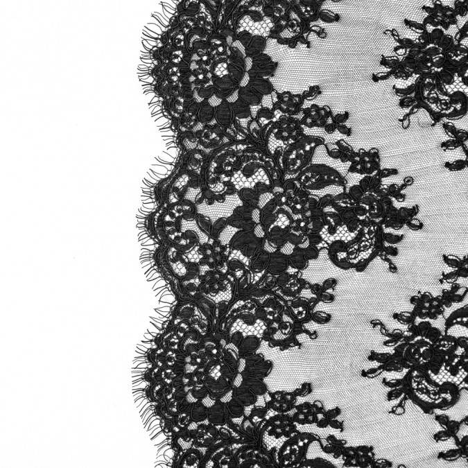 black floral fancy corded lace with scalloped eyelash edges 117260 11