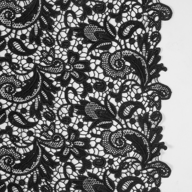 black floral guipure cotton lace 317362 11