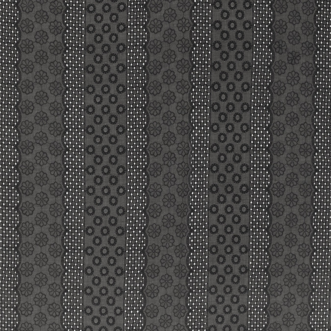 black geometric and floral striped embroidered cotton eyelet 318071 11