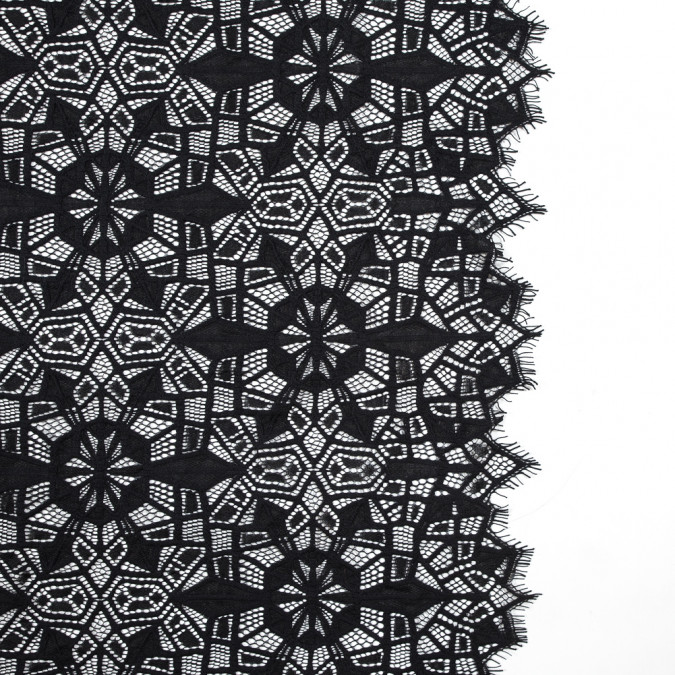 black geometric lace panel with eyelash edges 316073 11