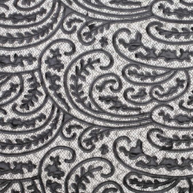 black paisley faux leather embroidered lace 109215 11