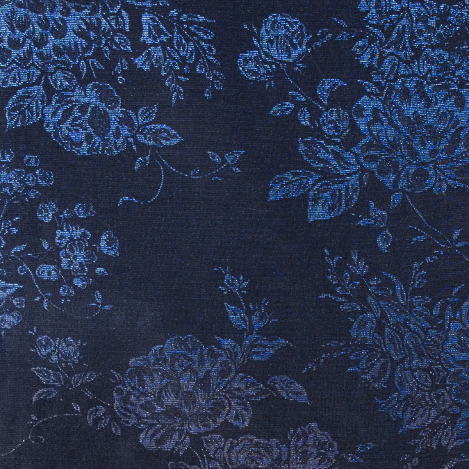 black royal blue floral metallic mesh 311486 11