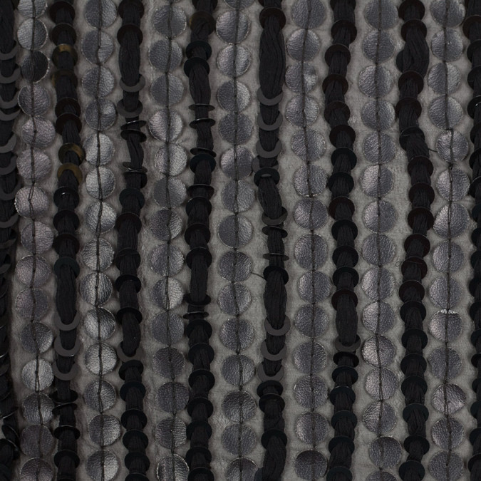 black striped viscose polyester sequins 307902 11