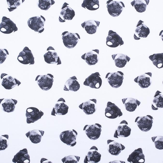 black white digitally printed pugs stretch neoprene scuba knit 307973 11