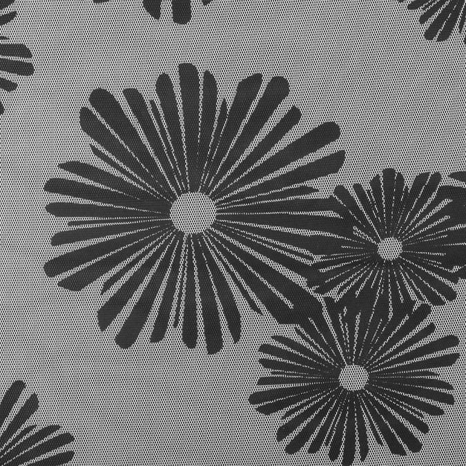 black white floral polyester netting mesh 308947 11