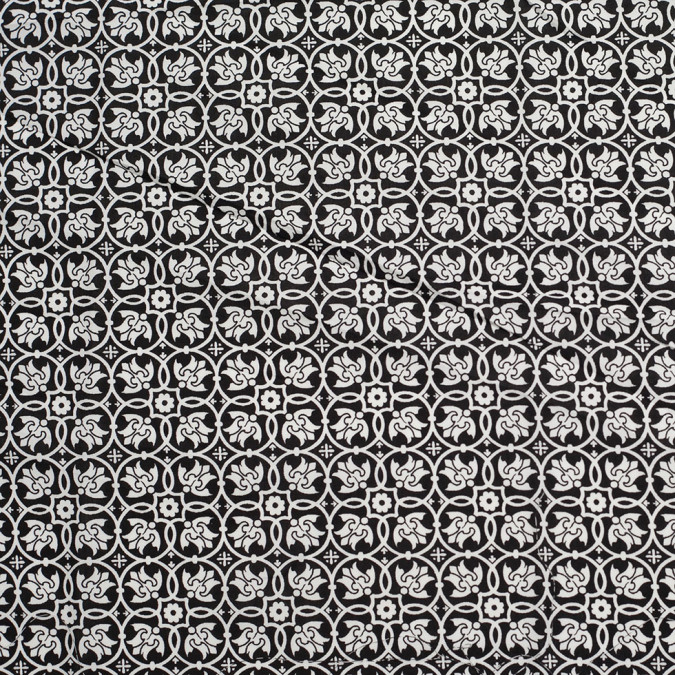 black white floral stretch cotton poplin 306456 11