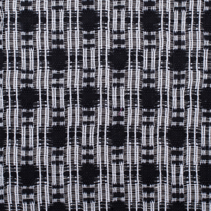 black white open weave checked cotton woven 308227 11
