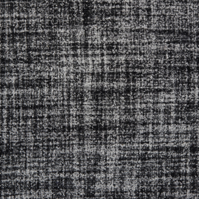 black white stiff boucled wool double cloth 310054 11