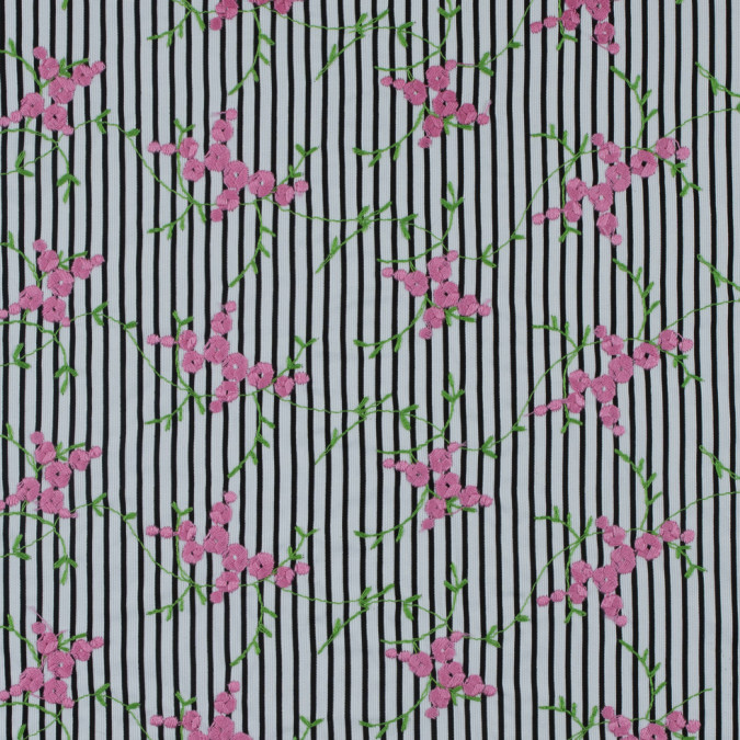 black white striped floral embroidered cotton woven 311433 11