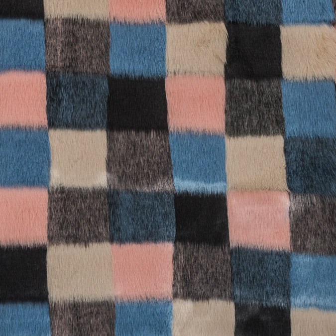 blue beige and coral checker board faux fur 317805 11