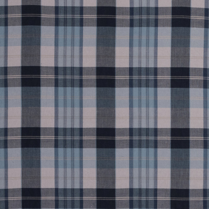 blue gray and beige plaid cotton lawn 318804 11