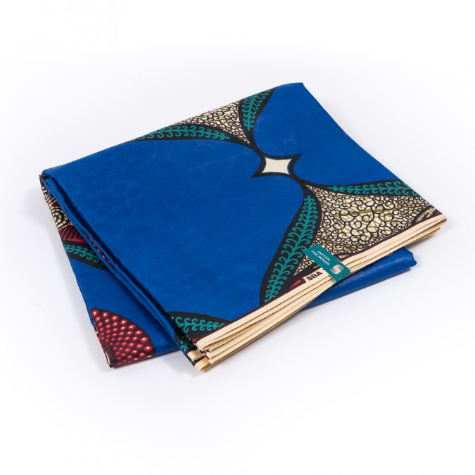 blue red and green waxed cotton african print with additional inlaid pattern 319555 11