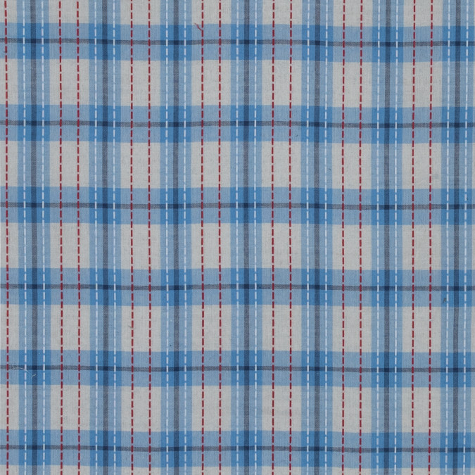 blue and ivory plaid cotton lawn with raised red and white stripes 318810 11