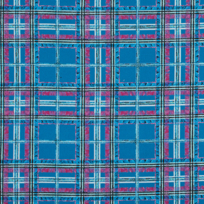 blue and pink plaid printed stretch cotton sateen 315776 11