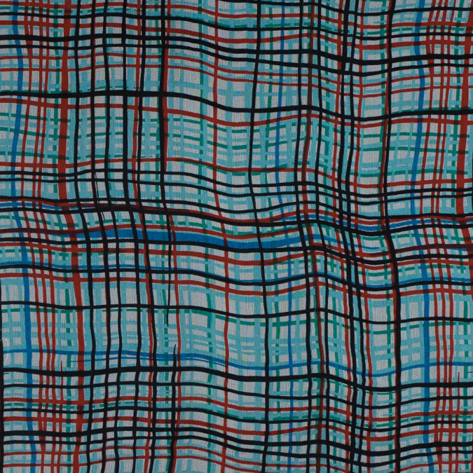 blue and red plaid printed silk chiffon 315758 11